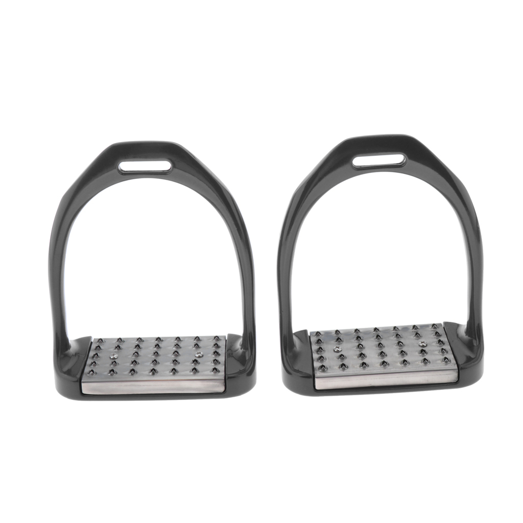 1 Pair Stainless Steel Horse Saddle English Riding Stirrups - Double Jointed Irons and Wide Base for Support