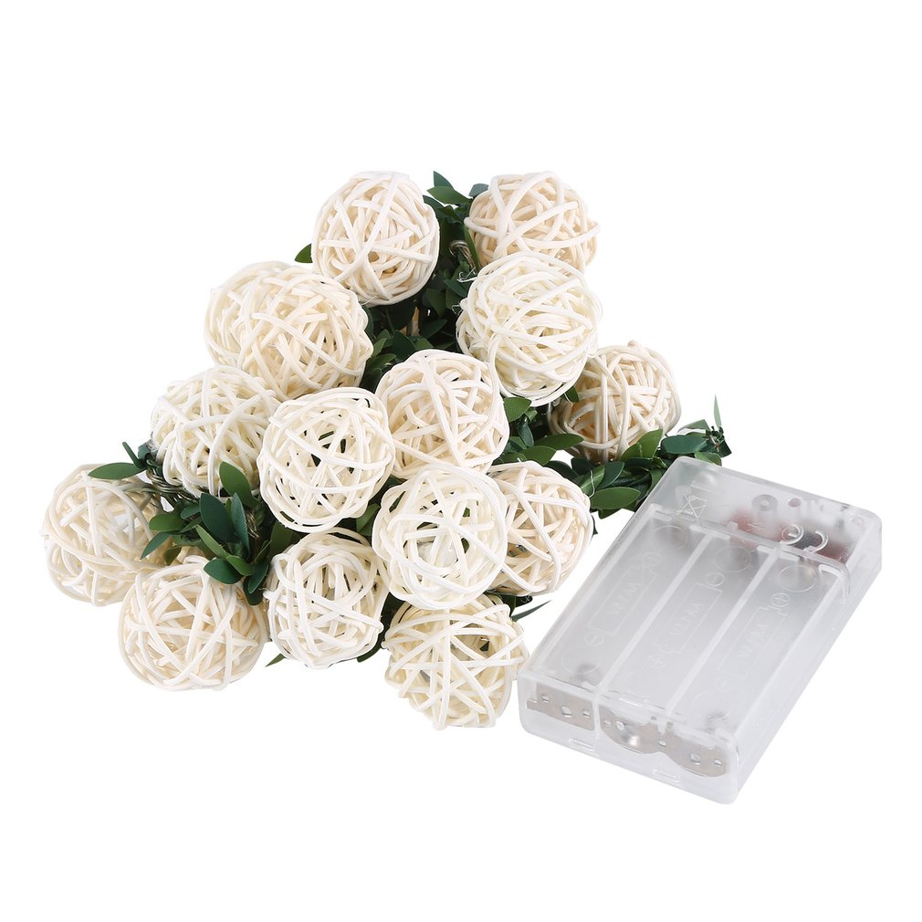 20 LED Rattan Thai Rattan Ball Battery Box Light String Christmas Day Indoor Outdoor Decoration White BZ495
