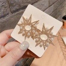 Baroque Luxury Pearl Star Drop Earrings for Women Hollow Gold Color Metal Big Starburst Dangle Earrings 2020 Statement Jewelry