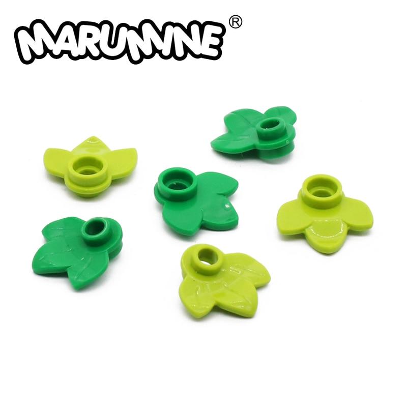MARUMINE 100PCS Pumpkin Leaf City Stalk Grass Flower City Part Classic Bricks Construction Educational Toys