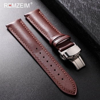 REMZEIM Genuine Leather Watchband Calfskin Men Women Replace Watch Band 18mm 20mm 22mm 24mm With Automatic butterfly buckle - discount item  50% OFF Watches Accessories