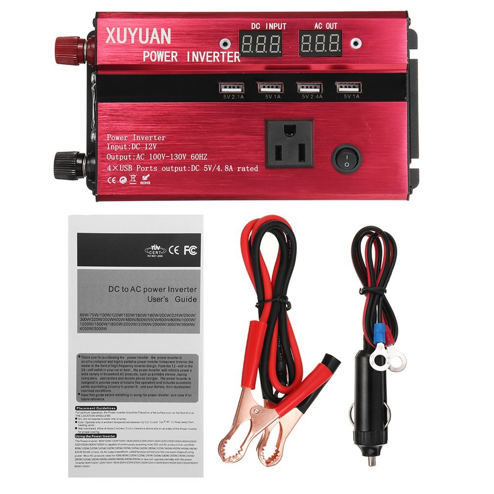 3000W Portable Car Solar Power Inverter Sine Wave <font><b>Converter</b></font> <font><b>12</b></font> <font><b>V</b></font> <font><b>220</b></font> <font><b>V</b></font> Voltage <font><b>Converter</b></font> 12v <font><b>to</b></font> 110v Car Charger Volts display image