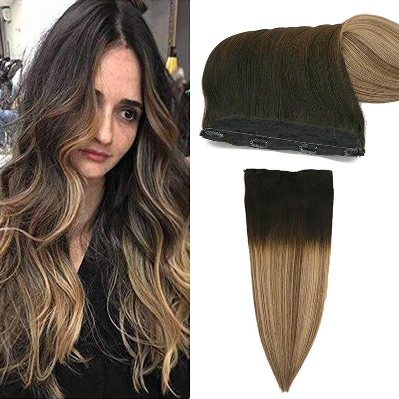 Toysww европейские волосы для наращивания в виде рыбьей лески, настоящие человеческие волосы, цвет Bayalage, невидимая рыболовная проволока с 4 заж...