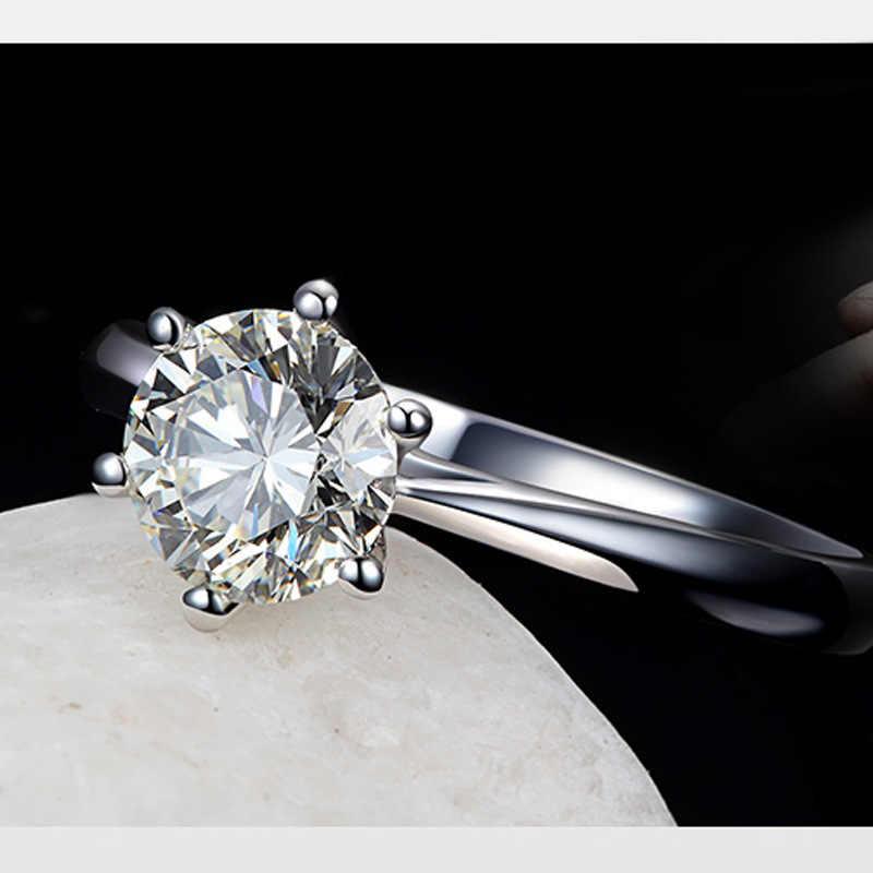 Gümüş kaplama düğün büyük zirkon yüzük kristal gümüş renk yüzükler kadınlar takı için çift kız arkadaşı gelin yüzüğü takı