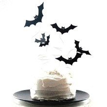 12PCS Black Glitter Bats Cupcake Toppers Halloween Birthday Holiday Celebration Party Supplies CakeToppers Free Shipping