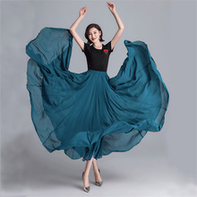 Dance Gypsy Skirt Woman Dresses Spanish Flamenco Chiffon Skirts for Girls 9Colors 720Degree Performance Costume Casual Outfits