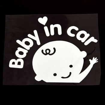 1PC 13X16CM Baby In Car Warming 3D Cartoon Stickers Car styling Car-Sticker Baby on Board image