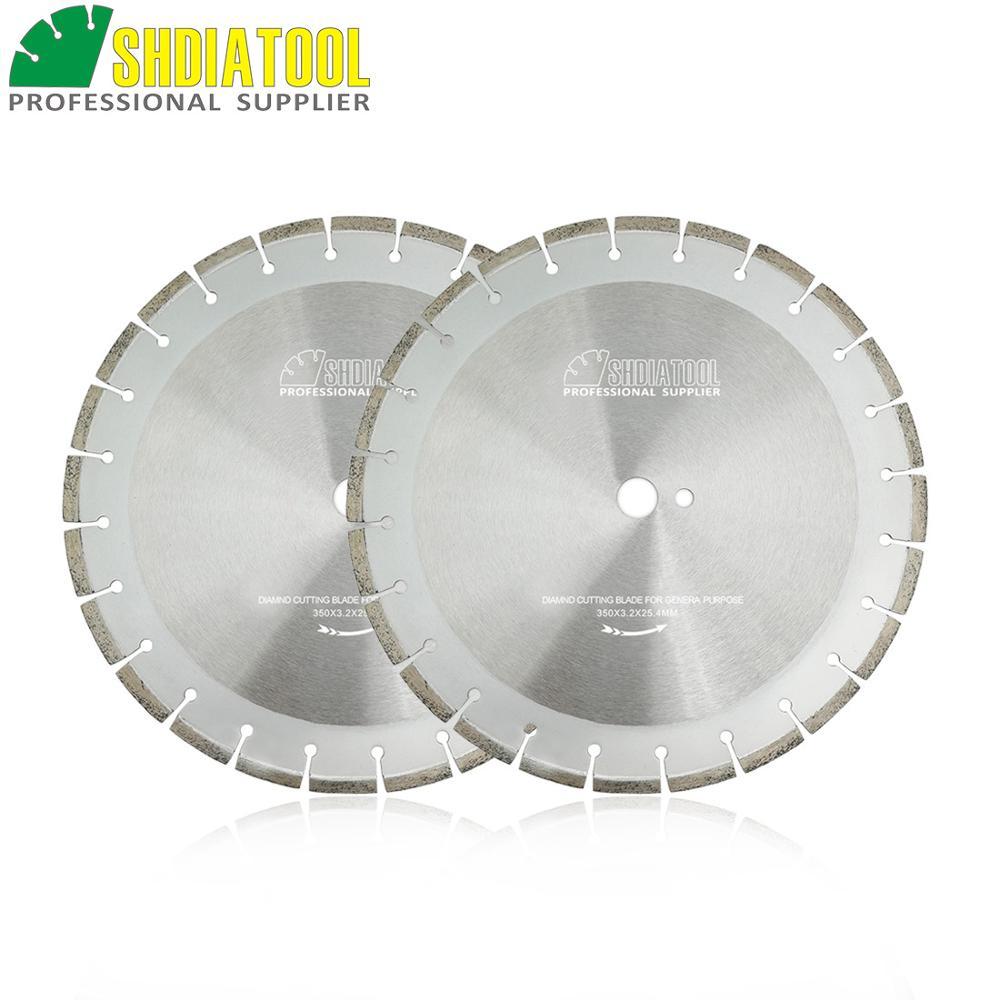 SHDIATOOL 2pcs 14inch/350MM Laser Welded Diamond Blades For Cured Concrete Cutting Good Quality Road Saw Blade Cutting Disc