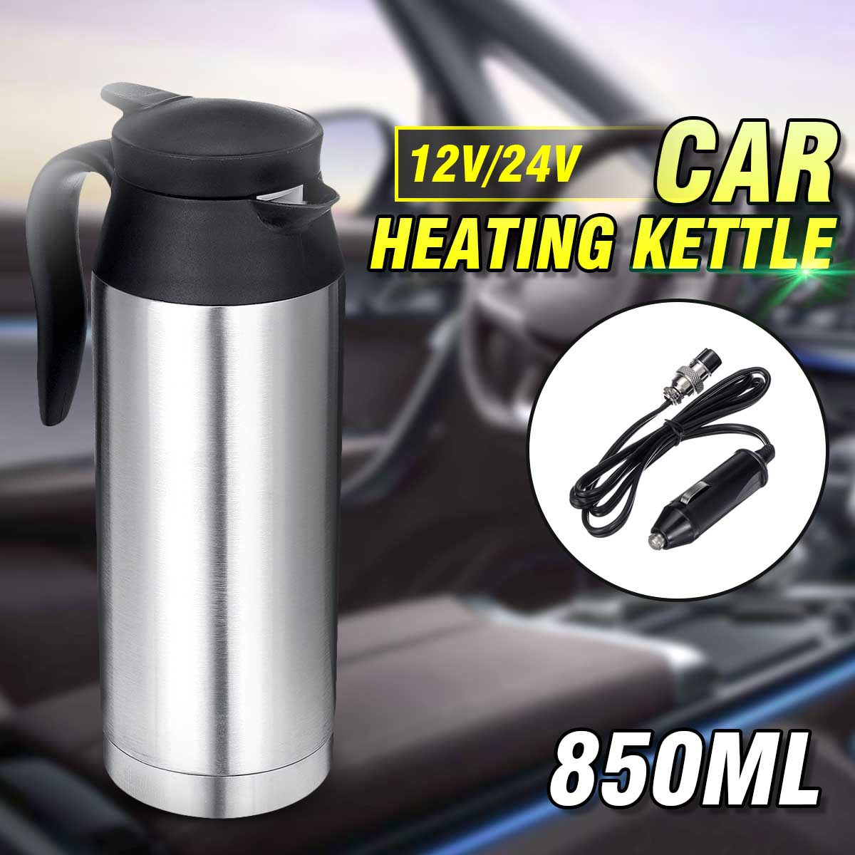 12V /24V Stainless Steel  Electric Kettle 800ml In-Car Travel Trip Coffee Tea Heated Mug Motor Hot Water Boiling For Car Truck