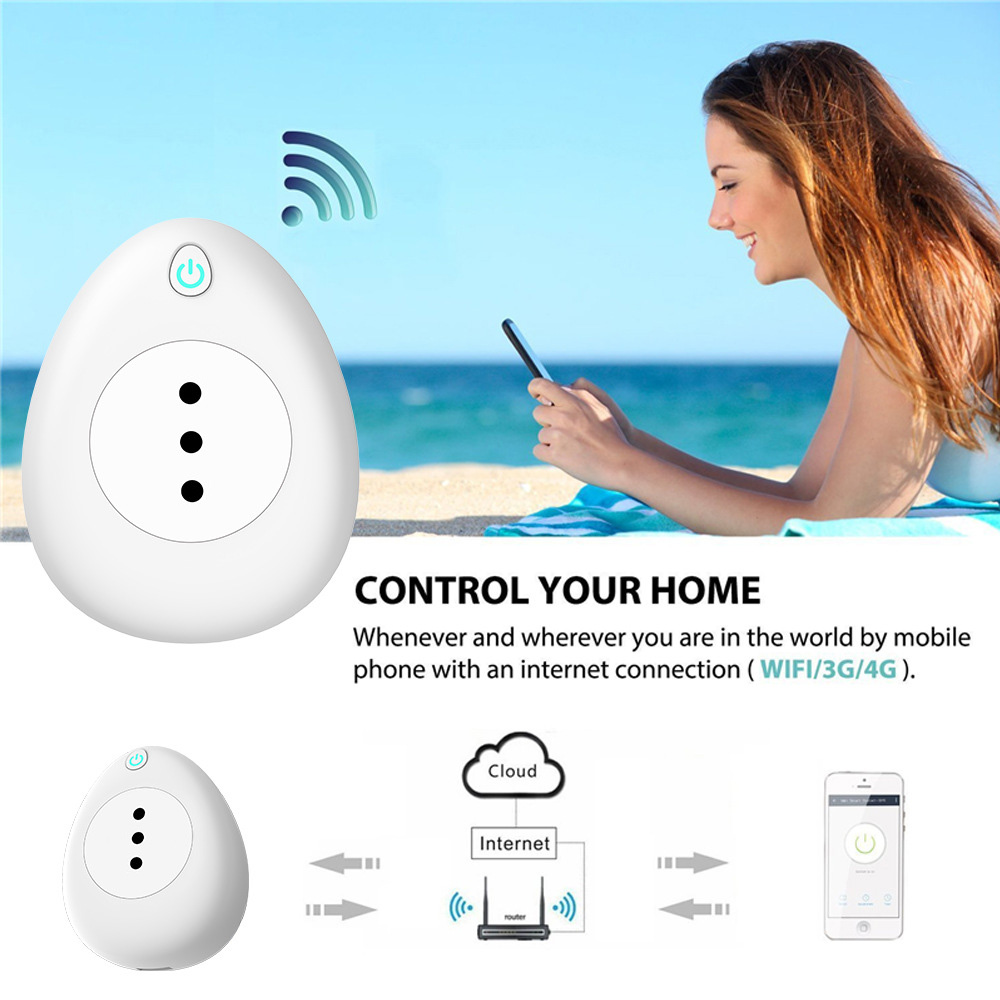 Smart Plug Wifi Smart Socket 15A Italy Chile Power Monitor Voice Control Works With Google Home Alexa IFTTT Tuya Smart life APP in Smart Power Socket Plug from Consumer Electronics