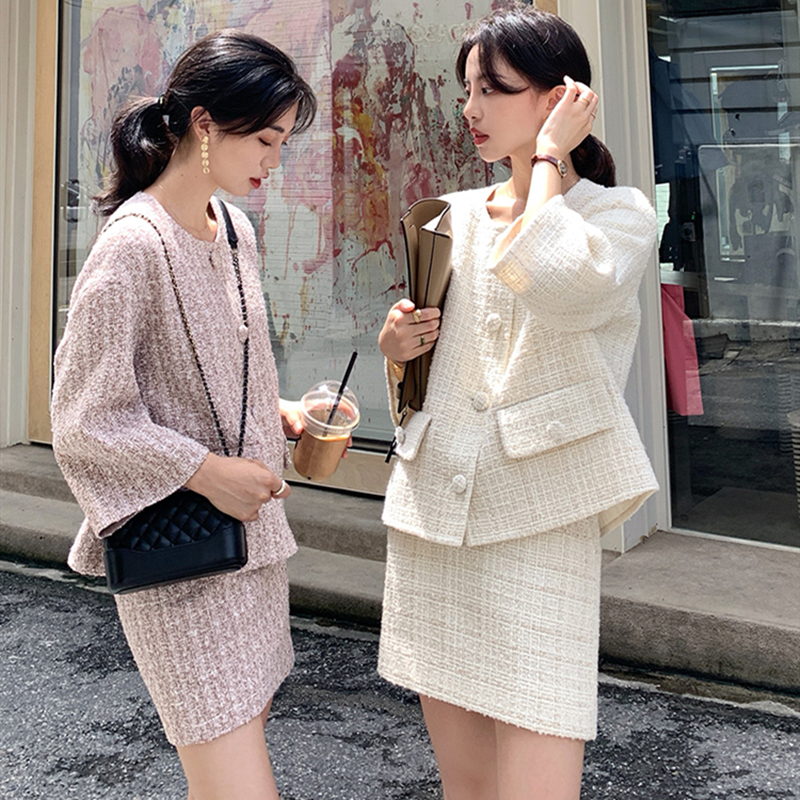Automne hiver Tweed 2 pièces ensemble femmes Tweed veste courte manteau de laine + moulante crayon jupe costume ensembles