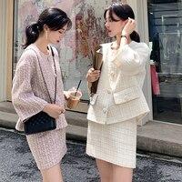 Autumn Winter Tweed 2 Piece Set Women Tweed Short Jacket Wool Coat+Bodycon Pencil Skirt Suit sets