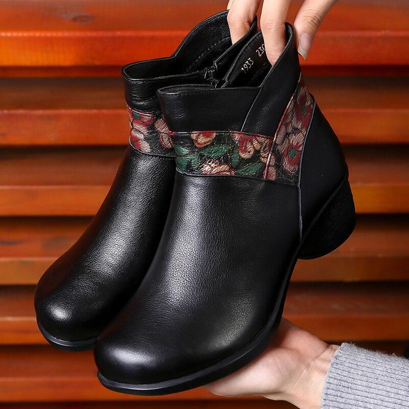 Botas de couro feminino botas de inverno sapatos quentes bordados sapatos retro salto baixo martin botas de couro artesanal botas de tornozelo marrom 2019 - 2