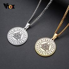 Vnox-collares Vintage de runas vikingas Retro para hombre, amuleto de acero inoxidable, colgante con símbolo de vikingo, joyería informal con Triple nudo