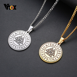Vnox Vintage Retro Viking Rune Men Necklaces Stainless Steel Slavic Viking Amulet Symbol Pendant with Triple Knot Casual Jewelry