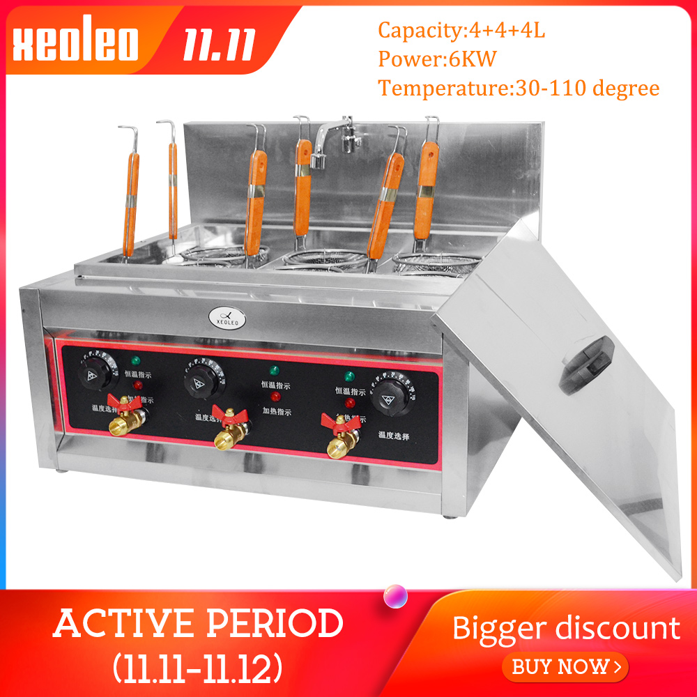XEOLEO Electric Noodle Maker Noodle Soup Stove Pasta Boiler Cooker Stainless Steel Commercial 6 Holes Cooking Noodle Machine 6KW