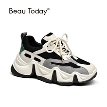 Chunky Sneakers Shoe Panda Beautoday Genuine-Cow-Leather Casual Women Cross-Tied 29344