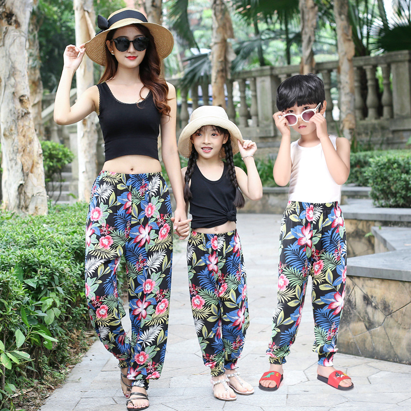Free Shipping 2019 Women Summer Trousers Girls boys Beach Casual Seaside Sunscreen Shade Flower Pants Family Matching Outfits