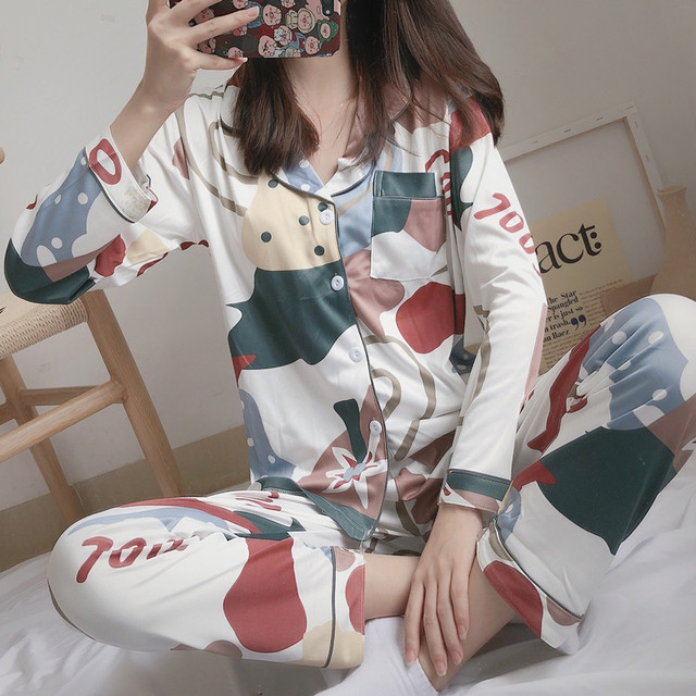 Womens Sleepwear Sexy Pajamas Sets Long Sleeve Top + Pants Autumn Winter Cute 2 Pieces Pyjama Pj Sets Ladies Cute Homewear