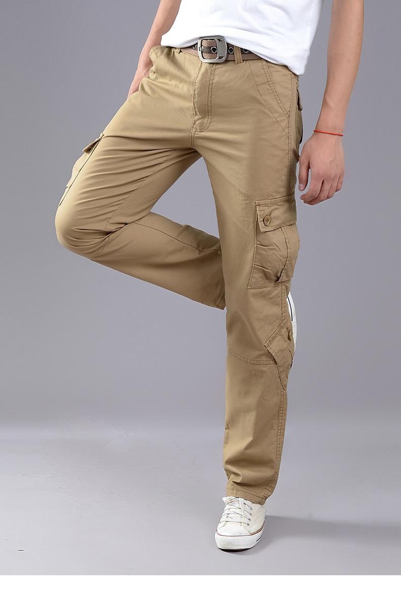 KSTUN Cargo Pants Men Combat Army Military Pants 100% Cotton 4 Colors Multi-Pockets Flexible Man Casual Trousers Overalls Plus Size 38 27