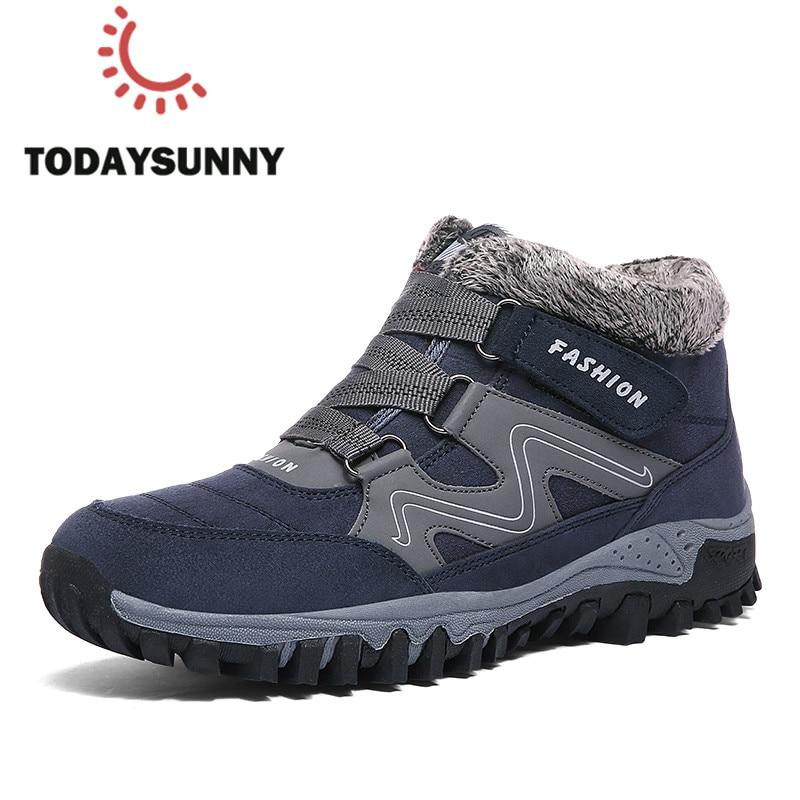 Fashion Men Boots High Quality Split Leather Ankle Snow Boots Shoes Warm Fur Plush Unisex Lace-Up Winter Shoes Plus Size 38~47