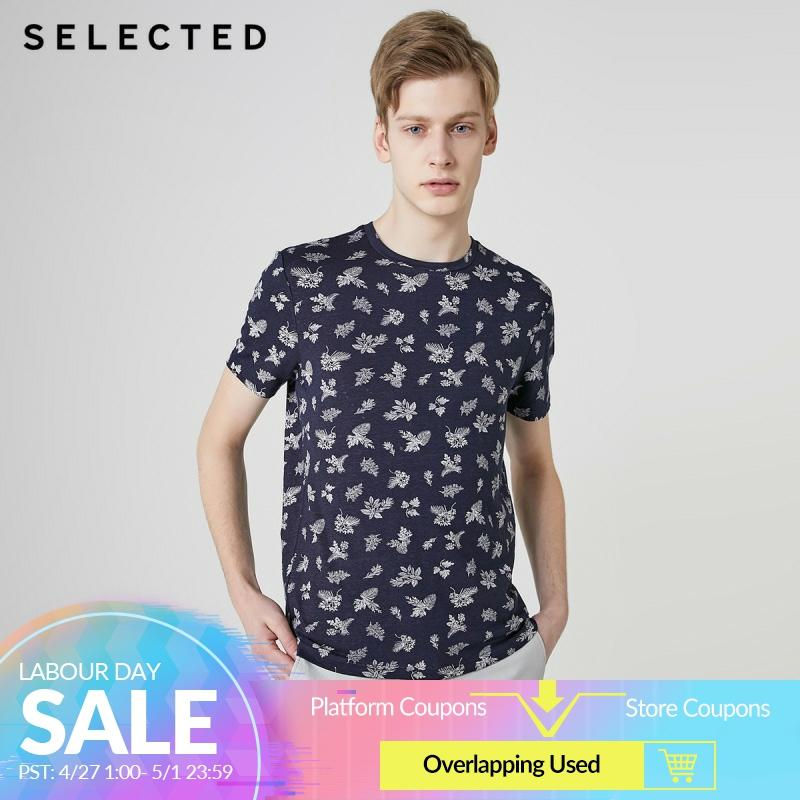 SELECTED Men's Linen Summer Stylish Printed Short-sleeved T-shirt C|419201628