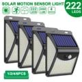 222 светодиодный солнечный светильник на открытом воздухе 4 режимов движения Сенсор PIR настенный светильник Водонепроницаемый Солнечная лам...