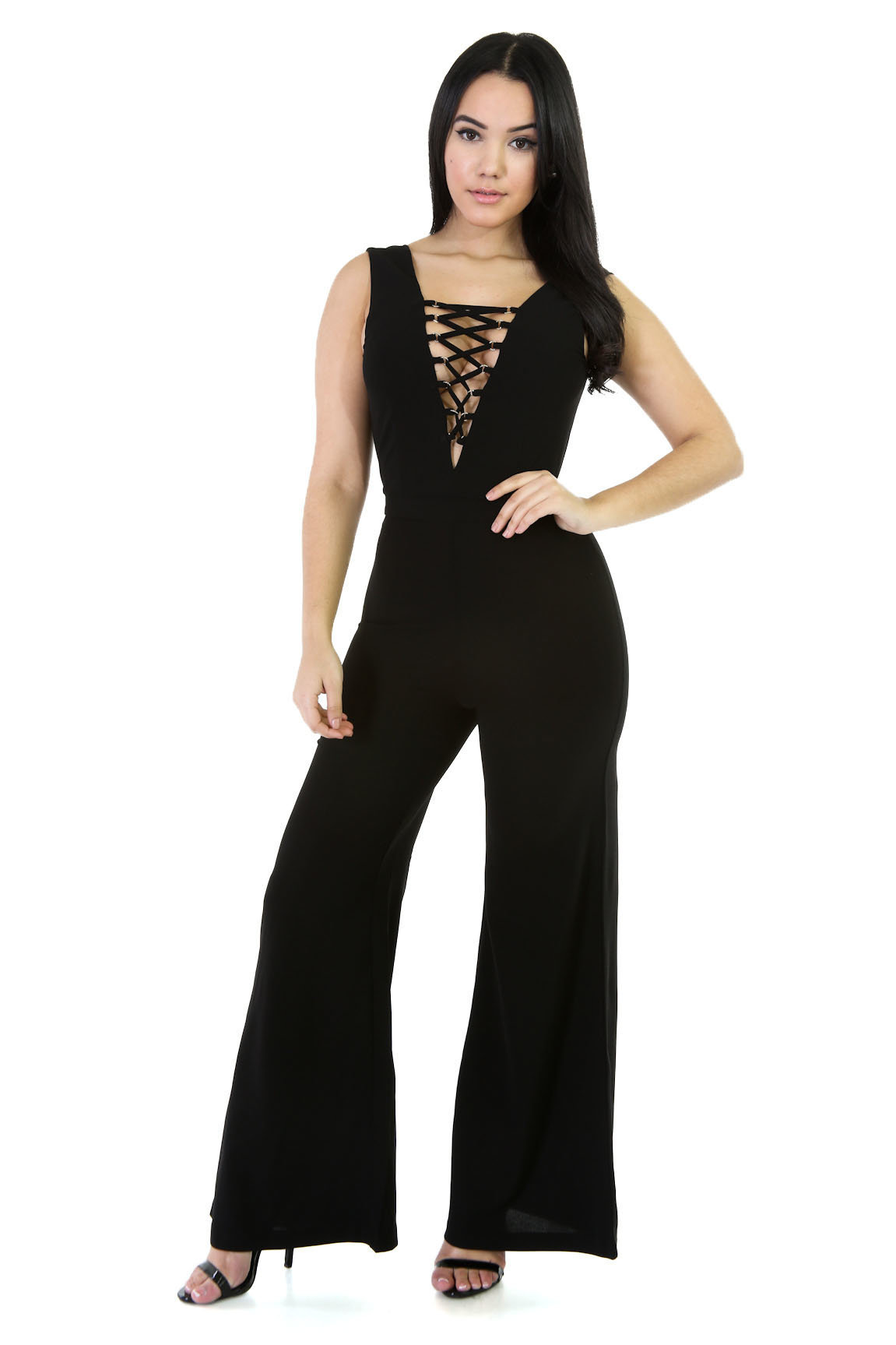 Europe And America WOMEN'S Dress Hot Selling High-waisted V-neck Loose Pants Irregular Set