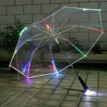 Fashion LED Luminous Umbrella Womens Windproof Transparent Party Dedicated Long Handle waterproof
