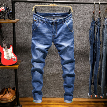 Spring Autumn  Men's Elastic Cotton Stretch Jeans Pants Loose Fit Denim Trousers Men's Brand Fashion Wear and washed jean pants 1