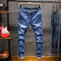 Frühling Herbst männer Elastische Baumwolle Stretch Jeans Hosen Lose Fit Denim Hosen herren Marke Mode Tragen und gewaschen jean hosen