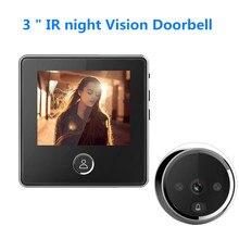 3 인치 LCD 벨 도어 도어 틈 구멍 카메라 전자 도어 뷰어 벨 IR 야간 도어 카메라 사진 녹화 디지털 도어 벨