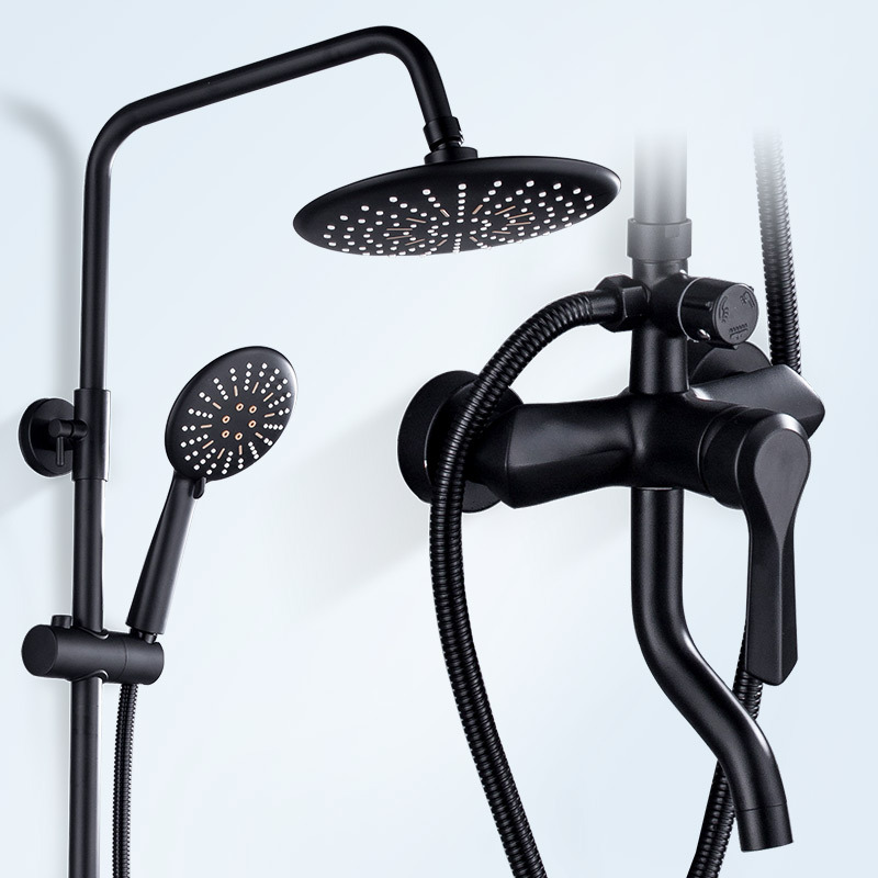 Black Get Wet In The Rain Shower Suit Household Full Copper Shower Room Toilet Bath Pressure Boost Shower Bathroom Organ Take A