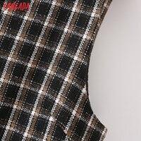 Tangada 2021 Autumn Winter Fashion Women Plaid Woolen Dress Sleeveless Office Ladies Mini Dress 2M203 4