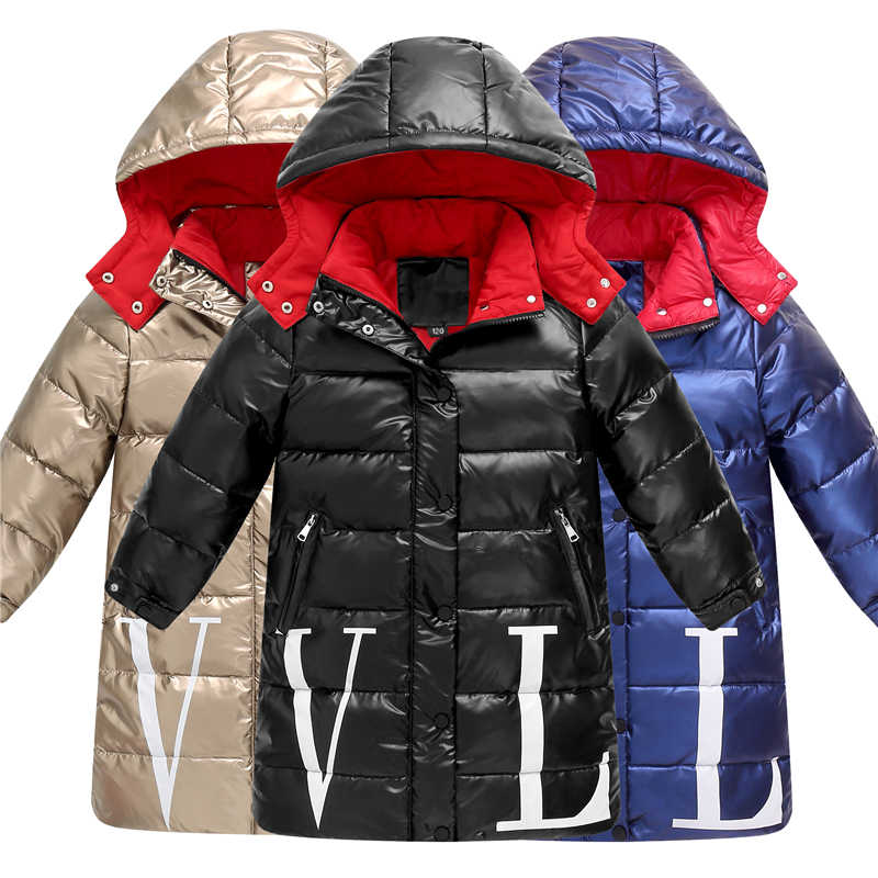 Winter Girls & Boys Down Coats Long Children White Duck Down Jackets Fashion Waterproof Solid Color Kids Down Coats Size 110-160