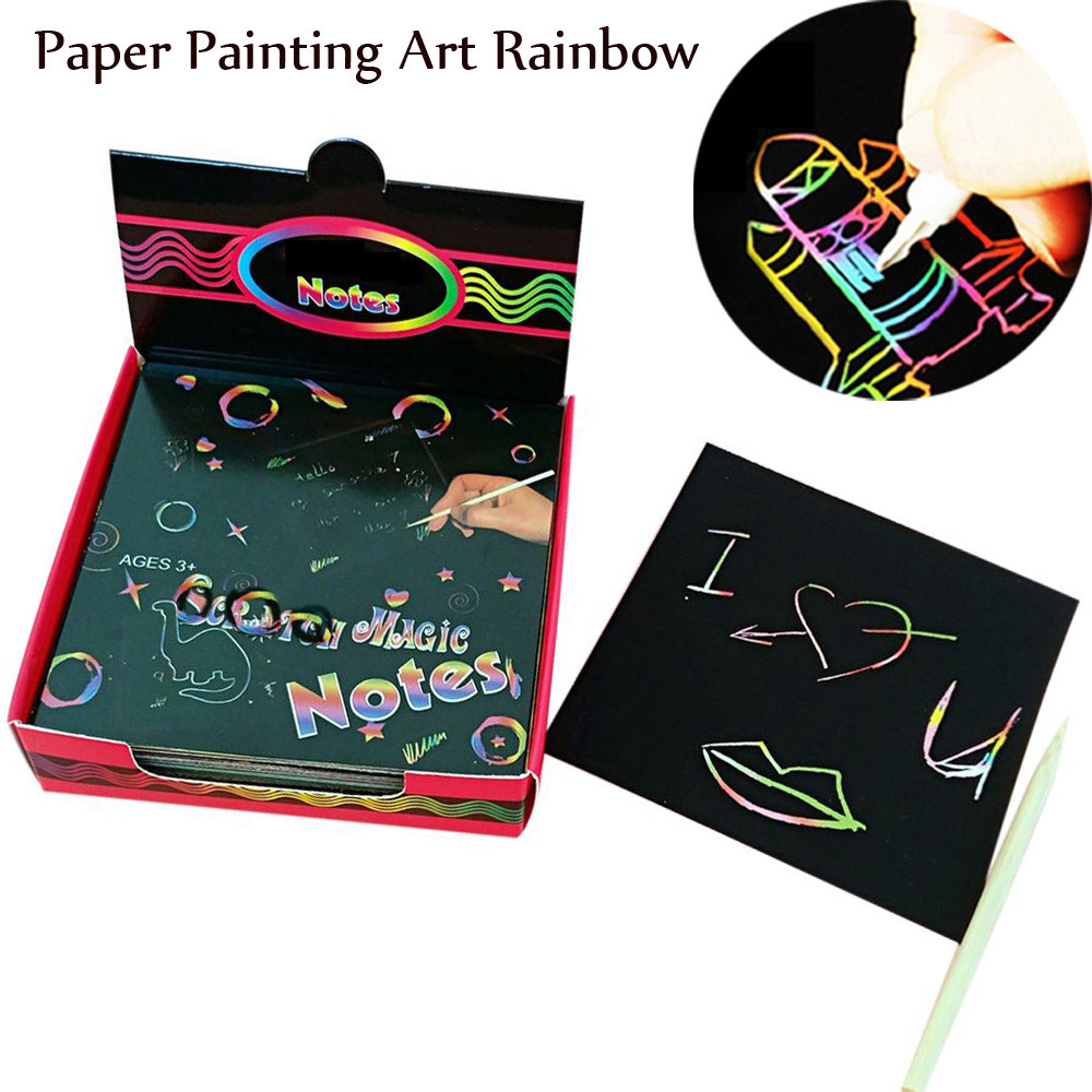 2020 Children's Educational Toys Scratchs Draw Kid's Toys Magic Scrape Painting Paper Art Rainbow Learning Education Toys L0120