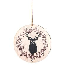 Vintage Wooden Round Elk Christmas Tree Hanging Pendant Ornament DIY Crafts Party Decoration Gifts
