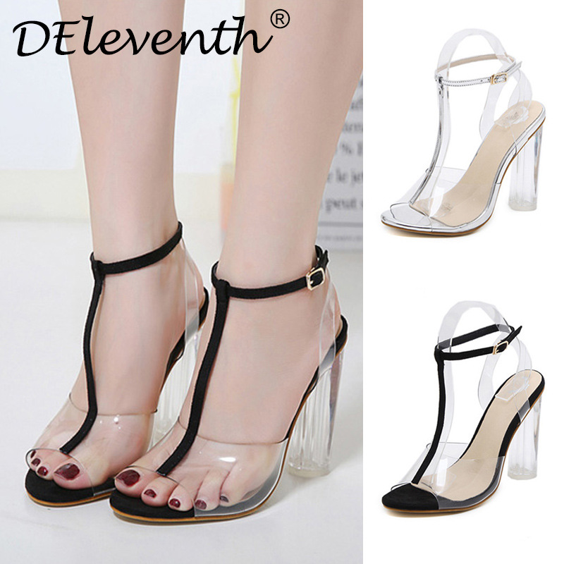 Sexy party women's shoes fashion transparent crystal thick High Heels Sandals fashion club women's high heels big 35-42