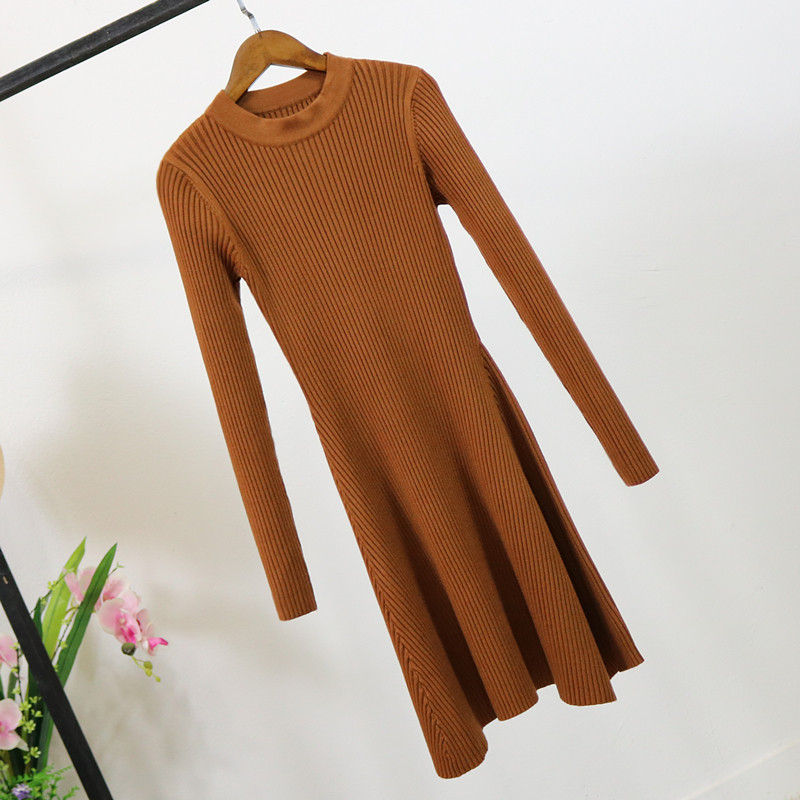 Ha17e8e9d5b5d442a85b315dea618ef0aW - Women Long Sleeve Sweater Dress Women's Irregular Hem Casual Autumn Winter Dress Women O-neck A Line Short Mini Knitted Dresses