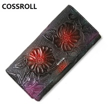 luxury brand women wallets genuine leather female purse floral real leather wallet long clutch purses