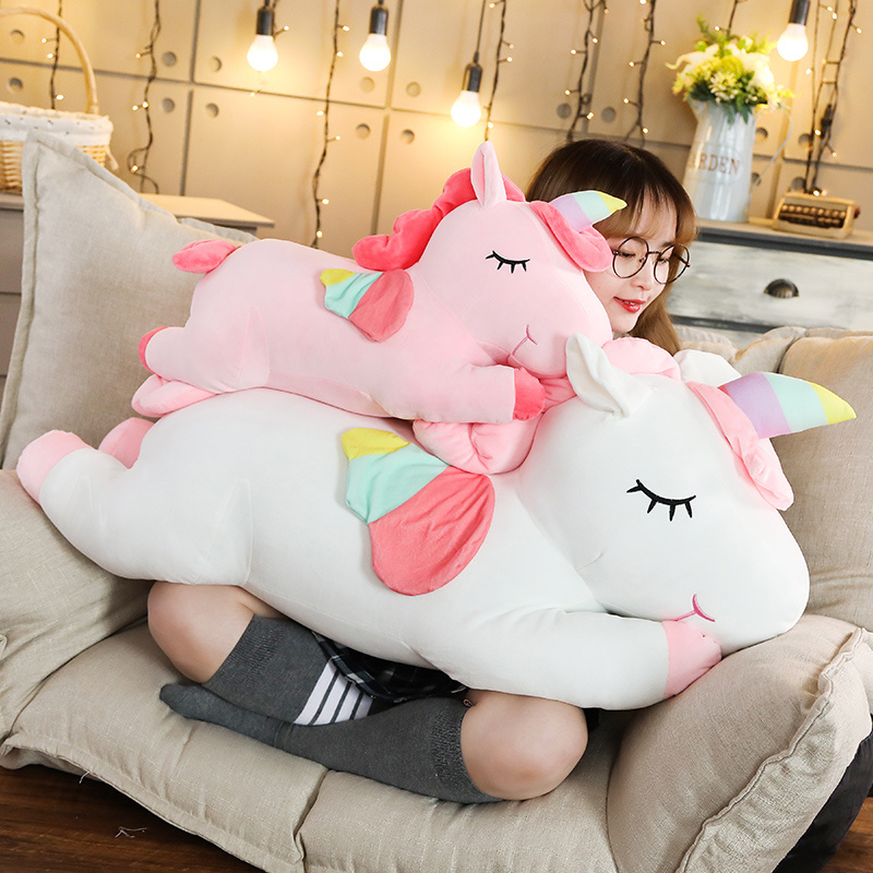 Giant Unicorn Plush Toys Soft Cute Stuffed Animal Sleeping Pillow Horse Doll Valentines Day Gifts For Kids Girls Just6F
