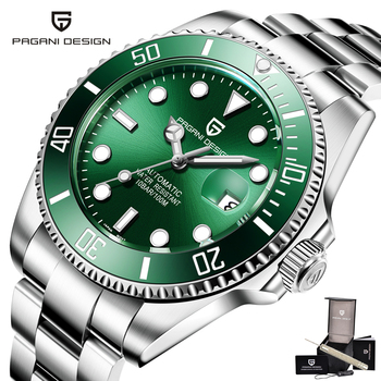 цена Pagani Design Diver Men Watch Automatic Men Watches Stainless Steel Business Male Clock Waterproof Sport Mechanical montre homme онлайн в 2017 году