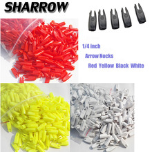 цены 100pcs 1/4 inch Archery Arrow Nock Wood Arrow ID6.2mm Archery Tails Plastic Arrow Nock Hunting Shooting Bow And Arrow Accessory