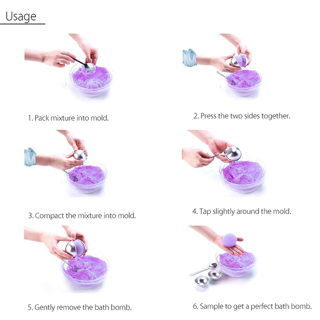 2/Pcs 3D Aluminum Alloy Bath Bombs Mold Ball Sphere Shape 8cm Bath Salt Bomb Cooking Set Mold DIY Bathing Tool Accessories 5