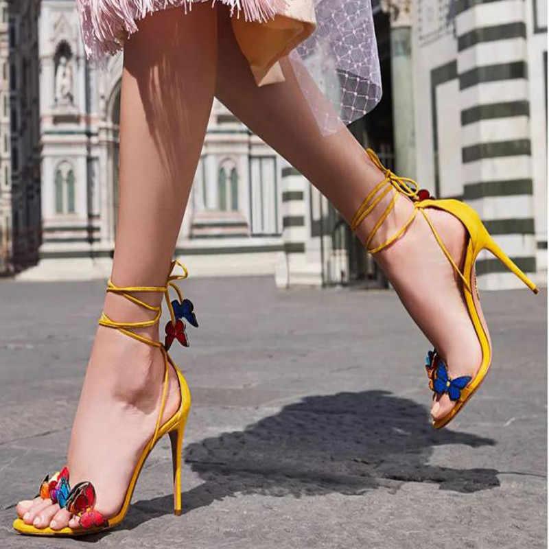 חדש 2020 אופנה נשים קרסול רצועת סנדלי אדום כלה קיץ נעלי חתונה פרפר דקור גבוהה עקבים לנשף משאבות זהב Sandalias