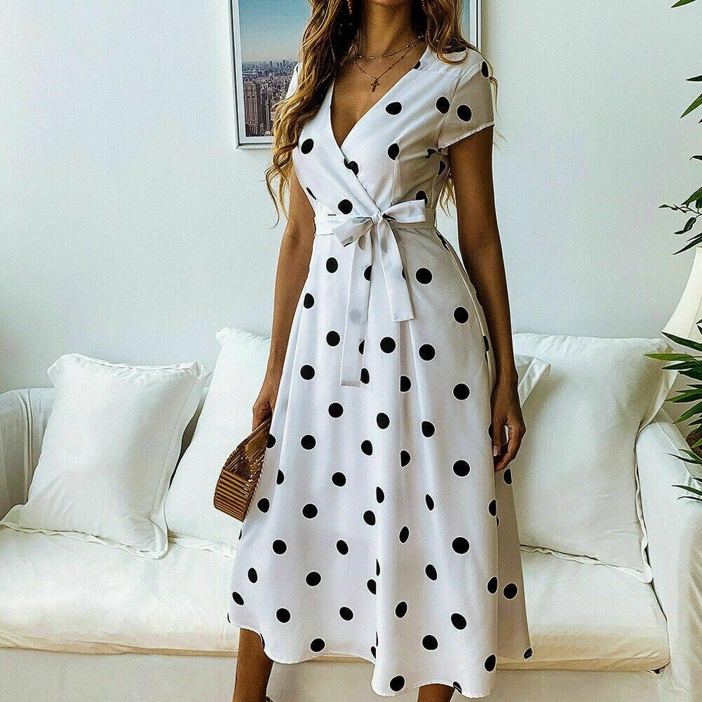 Женское платье в горошек с высоким разрезом, летнее сексуальное пляжное платье Бохо С v-образным вырезом, длинные платья макси с коротким ру...