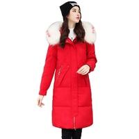 2019 Fashion Women Jacket Winter Down cotton X Long Parka Coat Thick Warm Big Fur Collar Hooded Parkas Jacket Plus size A2943