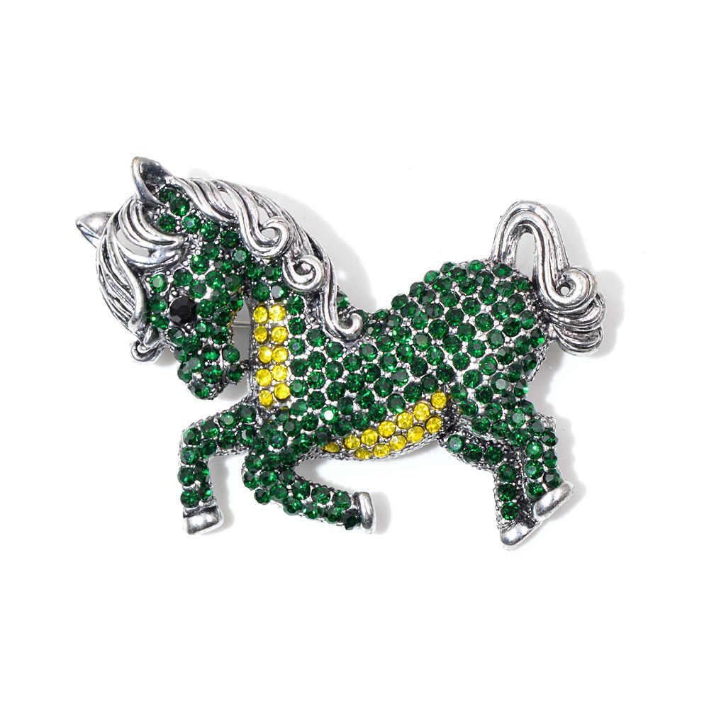 Berlian Imitasi Hidup Kuda Hijau Bentuk Bros untuk Wanita Vintage Kecil Lucu Bros Pin Fashion Hewan Aksesoris Hadiah Yang Bagus untuk Anak