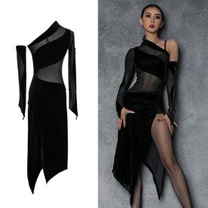 Image 1 - Vestido de baile latino de LICRA para mujer, ropa Sexy de baile de Salsa, vestidos de competición, Ropa de baile de corte alto para práctica de Samba 2020