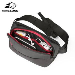 Image 1 - Kingsons sac à dos à épaule pour hommes et femmes, petit sac de poitrine à bandoulière simple, sac banane Style ceinture argent pour voyage pour téléphone portable